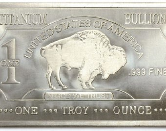 ONE Ounce TITANIUM BAR Buffalo Bison Solid Titanium