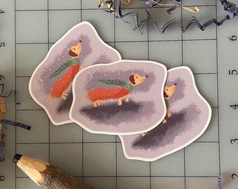 Dachshund with Scarf Classroom Sticker Dog Puppy - Cute Vinyl Die Cut Sticker