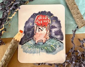 World Peace Hedgehog Postcard, 4 x 5 inches, Illustration, Hedgehog Gift, Hedgehog Lover