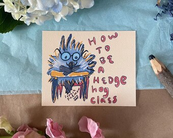 Hedgehog In Classroom Postcard, 4 x 5 inches, Illustration, Hedgehog Gift, Hedgehog Lover