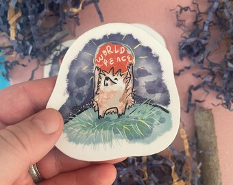 Hedgehog Lovers World Peace Sticker - Cute Vinyl Die Cut Sticker