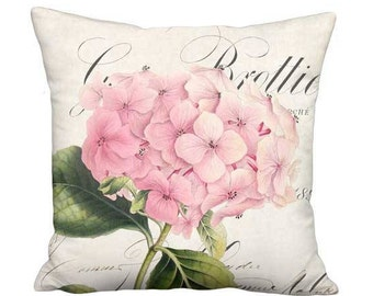 12x12 Inch - READY TO SHIP - Small Pillow with Insert - Linen Cotton Brottier Pink Hydrangea Pillow - Shabby Decor French Cottage Cushion