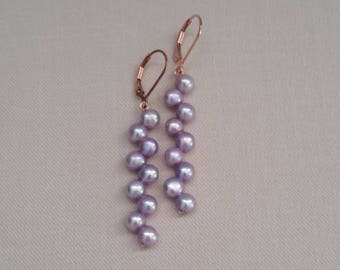 Lilacs & Roses - Lilac Freshwater Pearls on Rose Gold Fill Leverbacks