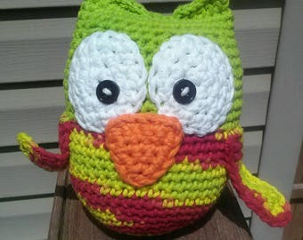 RTS Lime Green owl stuffie hand crocheted and ready to ship!
