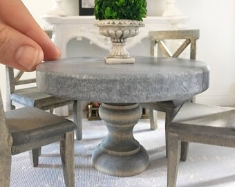 Miniature marble dining table - round with weathered oak base - Dollhouse - Roombox - Diorama - 1:12 scale