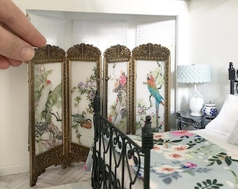 Miniature chinoiserie screen - room divider - Dollhouse - Roombox - Diorama - 1:12 scale