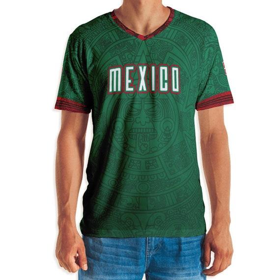 Men/'s Mexico Futbol Black V-Neck Tee Shirt World Cup Soccer 2018 Mundial Mexican