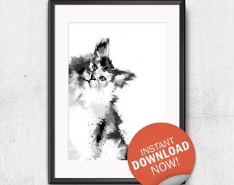 Maine Coon illustration wallpaper instant download