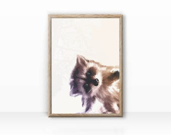Cute Raccoon Illustration Print
