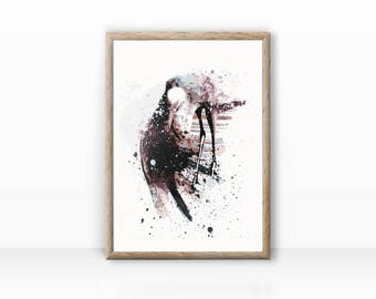 Stork bird illustration print