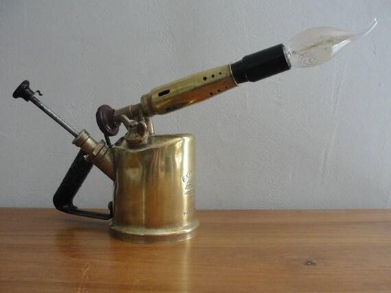 Ancienne Lampe A Souder En Laiton Style Vintage Detournee Et Etsy