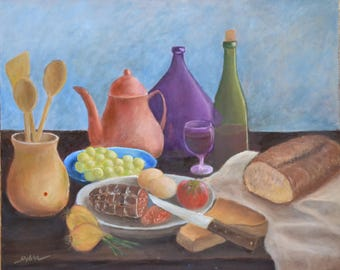 still life pastel bread, sausage and decanter