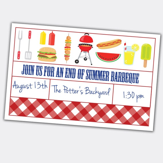 end of summer bbq barbeque invite custom printable etsy