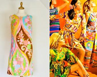 b0e84fbbb1e9 1960s Psychedelic Dress * 1960s Don Caparelli of California Mini Dress *  1970s Psychedelic Dress
