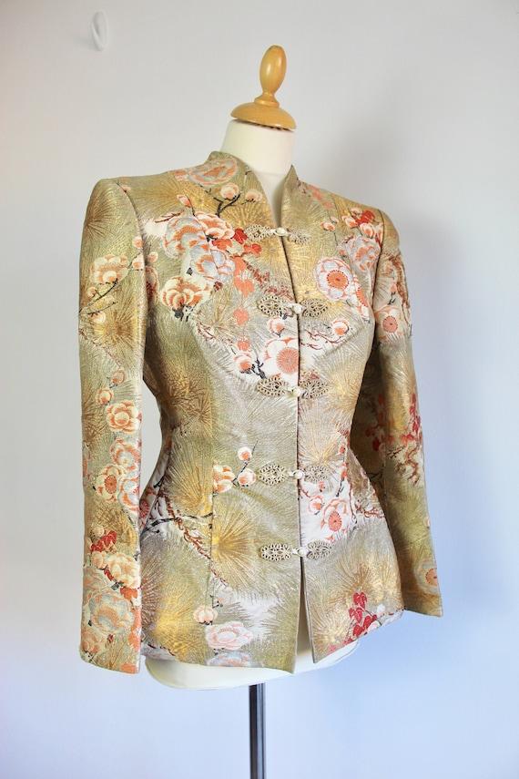 1930s Golden Cherry Blossom Kimono Sleeve Jacket *