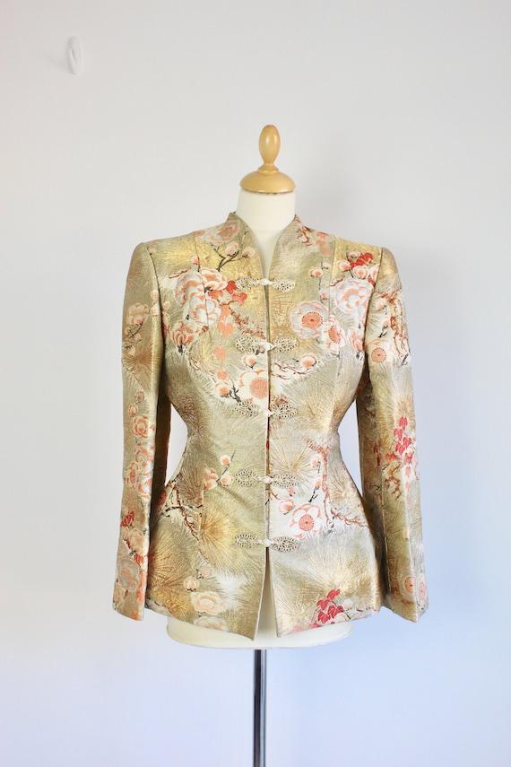1940s Golden Cherry Blossom Kimono Sleeve Jacket *