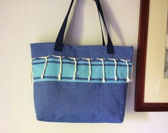 Blue beach bag, tote bag fabric Fouta