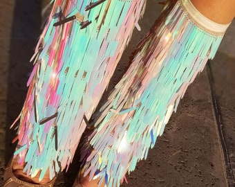 Iridescence Beyonce boot inspired sequined rave leg warmers, or boot covers.