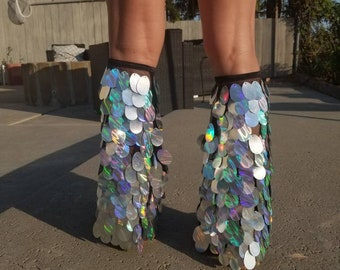 Holographic sequin rave leg warmers (or fluffies) or boot covers