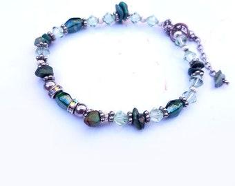 Green Variscite  gemstone and crystal boho stacking chakra bracelet.