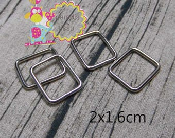 20 x Stirrups 2x1.6cmx2.8mm silver rectangular shaped loop ring