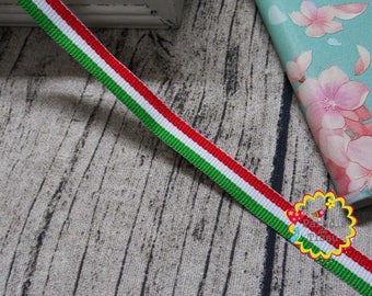 x 5 meters lace Ribbon 10MM tricolor Italian flag red white green