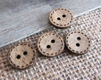 10 x buttons round coconut wood 15cm