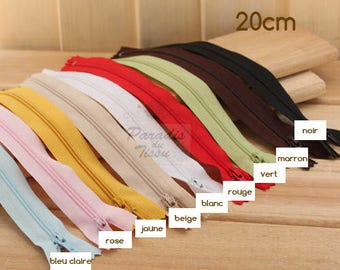 Set of 9 multicolored 20cm zipper closures