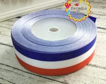 20 x meters tricolor blue french flag red white stripe Ribbon 2.5 cm