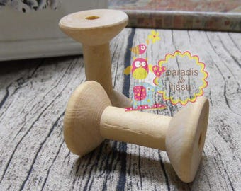 Set of 2 large wooden spools natural 4x3cm