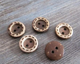 10 x buttons round 13mm coconut wood