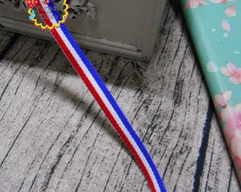 5 meters lace Ribbon x 9MM tricolor blue french flag red white