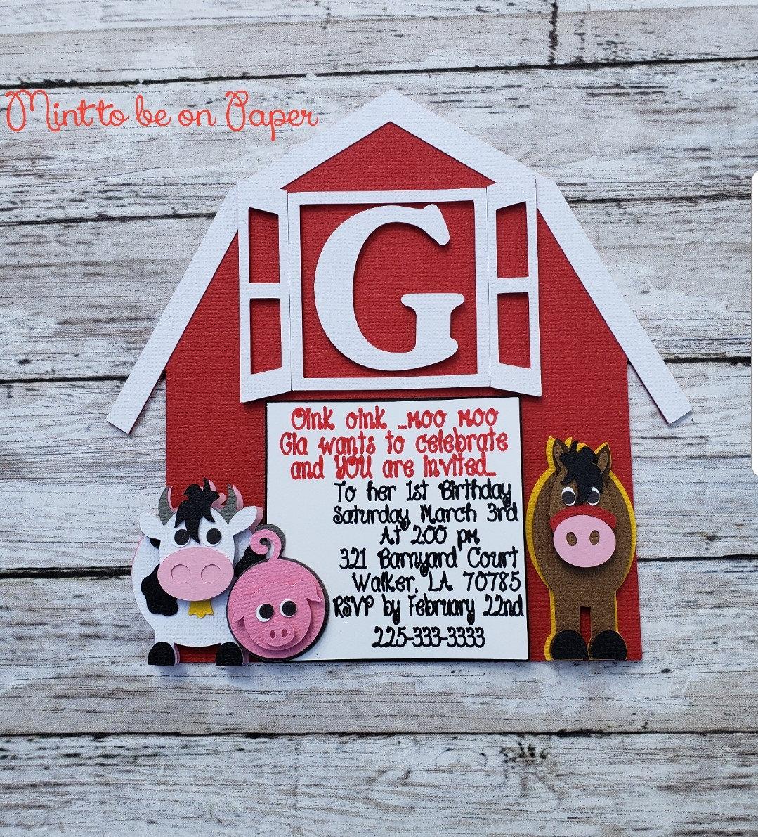 Farm Birthday Invitation Cow Horse Pig Barn Boys And