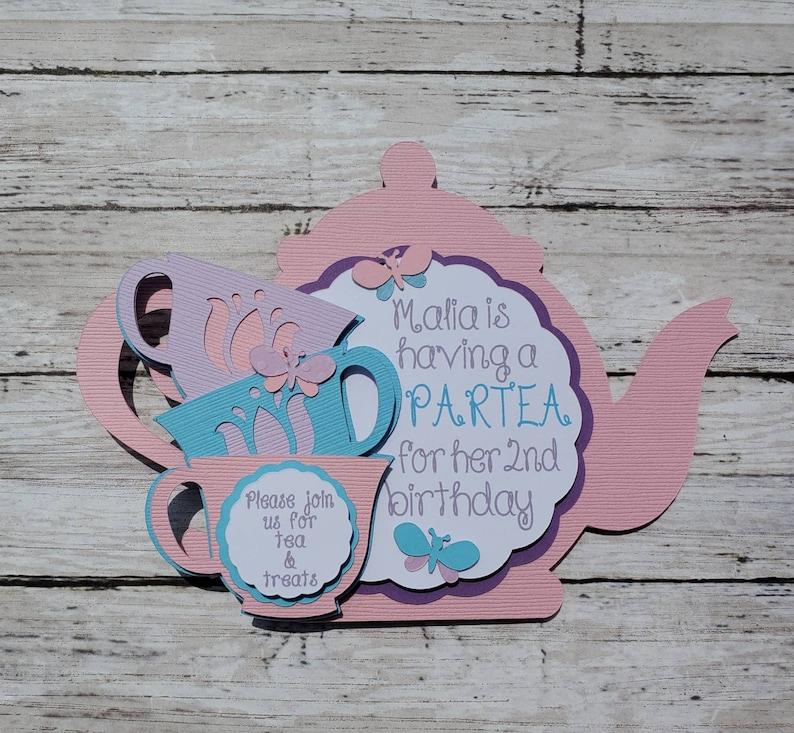 Tea Party Birthday Invitation Teacups Flowers And