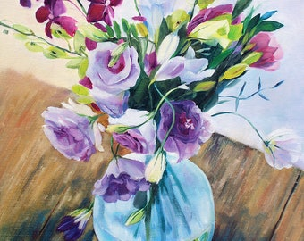 Purple freesia Original painting oil Lilac flower art Violet bouquet in vase Painting on canvas Gift for mom Present for granny Wall decor