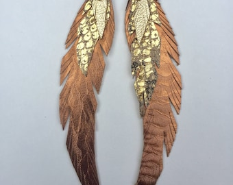 Golden Summer Leather Feather Earring Large