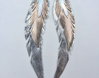 Rose Gold Iridescent Leather Feather Earring Large