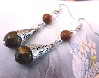 Handcrafted in NEPAL - hammered, Sterling Silver Pearl Earrings Tiger eye and wood beads