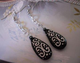 Handcrafted terracotta black almond Pearl Earrings