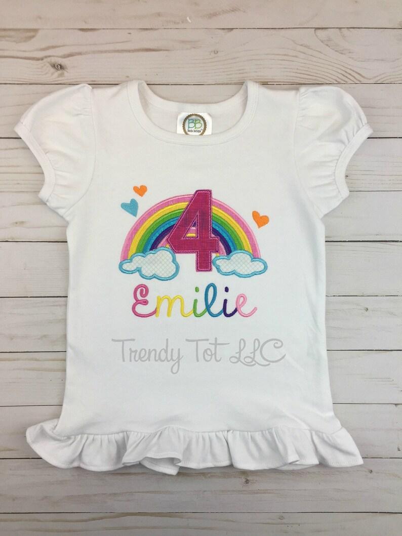 Girls Birthday Girl Rainbow Birthday Shirt Rainbow One