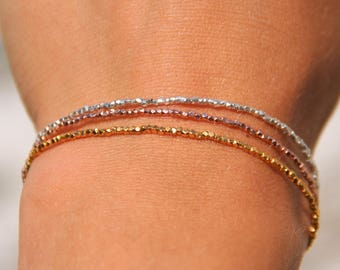 Bracelet beads 1.3 mm plate yellow gold or rose 24KT, round, tribal Karen, fine jewelry, chic Cappadocia with bicycle.
