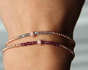 Bracelet tour complet plaqué or rose 24 carats Grenat ou Labradorite bijou fin, fête des mères, idée cadeau femme by Myo Jewel