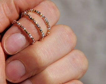 Beaded tackled Karen ring gold yellow and Pink + Silver solid 970, gift idea for woman, jewelry, jewelry by delicate Myo jewel