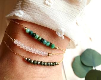 Bracelets TILLEUL, PIVOINE ou MAGMA rang de perles d'Emeraude, Quartz rose ou Pyrite & chaîne plaqué or gold filled