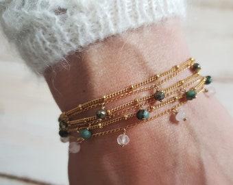 Bracelets ÉGLANTINE perles d' Émeraude, de Pyrite ou de Quartz rose, double rang de chaînes en plaqué or gold filled, bijoux
