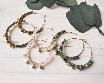 Créoles TILLEUL, PIVOINE ou MAGMA perles d'Emeraude, Quartz rose ou Pyrite & boucles d'oreilles et sequins en plaqué or rempli gold filled