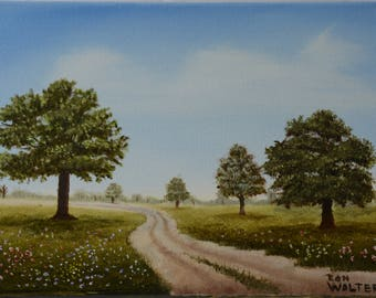 Country Road Original Oil Painting, Fine Art, Oil Painting on Canvas, Original Signed Oil Painting,