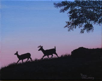 Deer at Dawn Original Oil Painting, Signed Oil Painting,8 x 10 Original Oil Painting, Oil Painting on Stretched Canvas, Deer Silhouette