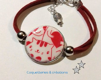 Polymer clay, white and red screen printed on acrylic - Moiko silkscreen cats hearts type bracelet in polymer clay. Handmade in France