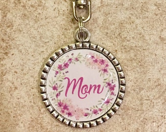 Mom floral wreath silver or bronze pendant keychain, gift under 5, stocking stuffer